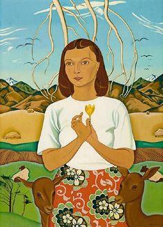 Rita Angus - A Goddess of Mercy, oil on canvas, 866 x 1945 - 47 Collection: Christchurch Art Gallery Te Puna o Waiwhetu Lund, Matisse, Georgia O'keeffe, Folk, New Zealand Art, Nz Art, Kiwiana, Art Station, Public Art