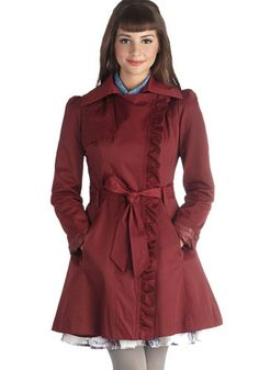 Metropolitan Miss Coat in Wine - Red, Solid, Pockets, Ruffles, Belted, Long Sleeve, Long, 2, Fall, Woven