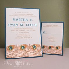 Art Deco Peacock Feather Wedding Invitation by mybluetulipdesign, $3.75