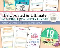 Personal JW Ministry Planner Insert Bundle - Revised 19 Unique Pages - Scribble Collection