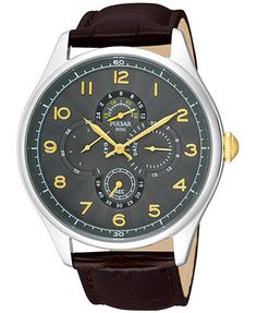 Pulsar Men's Brown Leather Strap Watch 44mm PW9011