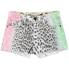 CURRENT ELLIOT Boy Friend Shorts ($165) ❤ liked on Polyvore featuring shorts, bottoms, pants, current elliott shorts, denim short shorts, neon jean shorts, leopard jean shorts and neon shorts