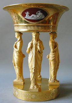 French Dessert Service: Bowl supported by caryatid figures, 1811-1813