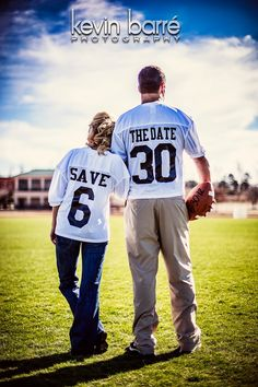 """LOVE this """"Save the Date"""" idea .this is for all you Football Fans out there. sports save the dates, baseball save the dates Wedding Pics, Wedding Engagement, Our Wedding, Dream Wedding, Wedding Ideas, Perfect Wedding, Sports Couples, Football Couples, Football Wedding"""