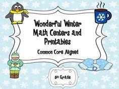 Winter Math Centers 4th and 5th Grade Common Core Aligned