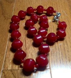 "14mm Red Lantern Jade Gemstone 17"" Necklace  