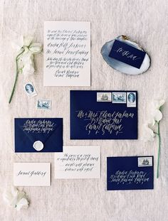 Like the typography A beautiful nautical styled shoot by Jose Villa, styled by Joy de Vivre. Stationery: Feast Art and Calligraphy Cute Wedding Dress, Wedding Pics, Perfect Wedding, Wedding Blog, Wedding Events, Wedding Ideas, Nautical Wedding, Blue Wedding, Wedding Suite
