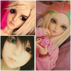 BJDs owned by rainbow_ferret- Supia Juah, Dollspirit Hoya and  Minifee Chloe with a Frappzilla wig