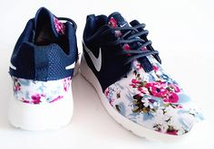 nike roshe run womens shoes flower blue black white new nz