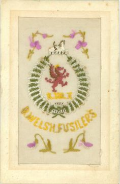 Regimental WW1 silk embroidered - ROYAL WELSH FUSILIERS