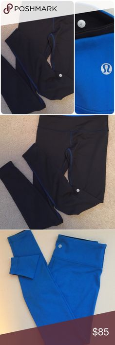 Lululemon Reversible Wunder Under Leggings These leggings are in impeccable condition! No pilling! Black with blue stitching on on side, cobalt blue on the other. Lulu logos at the calf and rear. Medium rise. Full length. lululemon athletica Pants Skinny