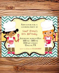 @Stephanie Close Close MauldinLittle Chef Birthday Party Invitation, GIRL, Boy, Baker Birthday Party, Cooking Birthday Party, Teal, Chevron Stripes. $20.00, via Etsy.