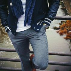 classic // navy, trouser, baseball jacket, scarf