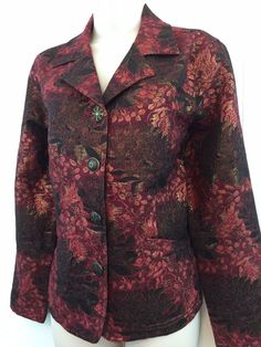 Chicos 1 Womens S M Metallic Holiday Jacket Red Floral Button Christmas Blazer #Chicos #Blazer