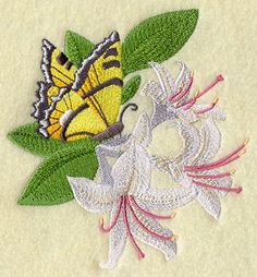Machine Embroidery Designs at Embroidery Library! - Free Machine Embroidery Designs  butterfly on honeysuckle
