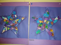 Eric Carle inspired art.  The children did this art in three steps, first they painted paper, the second day, they cut the painted paper into small pieces, and the third day they glued those pieces onto a star shape using glitter glue.  We read Eric Carle stories all week too, and discussed his process.