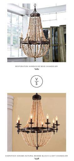 @shopcandelabra Restoration Warehouse Bead Chandelier $681 Vs @overstock Sonoma Natural Beaded Black 8-Light Chandelier $258