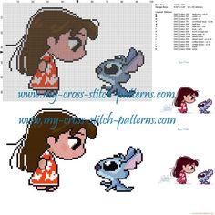 Lilo y Stitch patrón punto de cruz