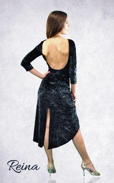 Reina Tango Dress elegant velvet with sleeves, long with slits
