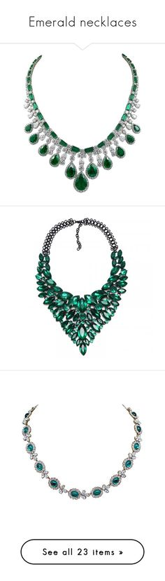 """Emerald necklaces"" by averymessygirl ❤ liked on Polyvore featuring jewelry, necklaces, platinum jewellery, emerald diamond necklace, diamond jewellery, emerald green necklace, diamond jewelry, cluster bib necklace, cluster necklace and stone jewelry"