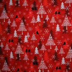 Stof Xmas Trees Red - Christmas Fabric