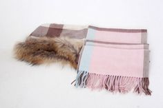 Warm brushed cashmere shawl in check with soft fur trim [$130.00]