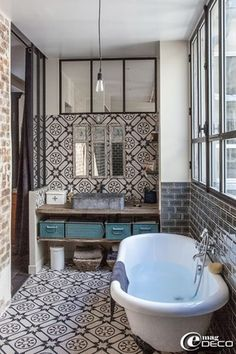 Spanish Style Black Bathroom Tile