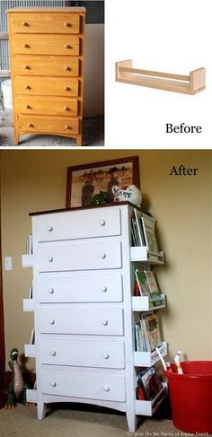 DIY Kids Bookshelves Made with Old Drawers and Ikea Spice Racks: Turn the old drawers like this one into a creative and stylish bookshelves for your kids with some white spraypaint and the IKEA spice racks.