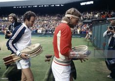Tom Okker of Holland and Bjorn Borg of Sweden during the Wimbledon Lawn Tennis Champsionships held at the All England Club in London, England during July 1979. Borg beat Okker 6-2, 6-1, 6-3 in the quarter-final on Centre Court. (Photo by Bob Thomas/Getty Images).