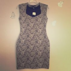 MIDI forever 21 dress,NWT New,dress from forever 21 with lace beige black pattern.95 % polyester,5 % spandex . Forever 21 Dresses Mini