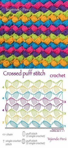 Crossed puff stitch
