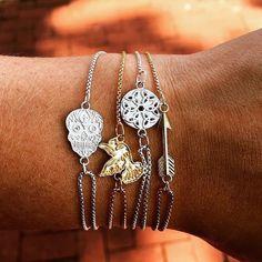 Alex and ani Cute Jewelry, Jewelry Box, Jewelery, Women Jewelry, Alex And Ani Rings, Skulls And Roses, Skull Fashion, Gold Bangles, Diamond Are A Girls Best Friend