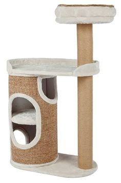 The TRIXIE Falco Scratching Post Cat Condo with Scratching Post is covered with soft plush fabric and provides 3 comfortable places for your cats to rest and play. The attractive condo provides Sisal, Cat Tree Condo, Cat Condo, Jute, Brown Cat, Brown And Grey, Maxi Zoo, Nigella, Litter Box Enclosure