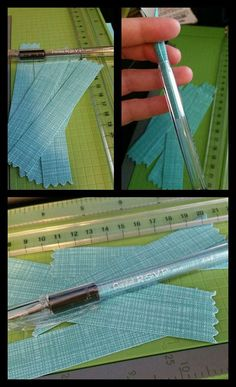 "DIY Fabric Swatch Pens You will need Pentel brand RSVP Fine Point Pens Directions: 1. Trim swatch to 3/4 "" x 3 1/4"". 2.Unscrew the black end cap from the pen and remove the ink cartridge. 3.Roll up and slide swatch into the ink chamber. 4. Replace ink cartridge and end cap."