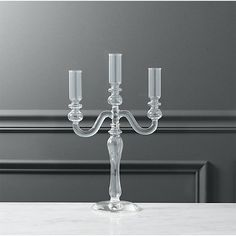 labra holds 3 taper candle holder | CB2 Unique Candle Holders, Unique Candles, Pillar Candle Holders, Taper Candles, Cut Glass, Clear Glass, Capiz Chandelier, Home Decor Mirrors, E Design