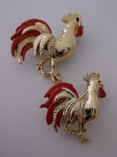 Brooch Pin Roosters