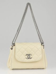 Chanel Dark White Quilted Lambskin Leather Small Accordion Chain Flap Bag