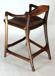 Sam Maloof inspired contempory walnut bar stool - built by Paul Lemiski of Canadian Woodworks - Custom rocking chair tables chairs and bar stools