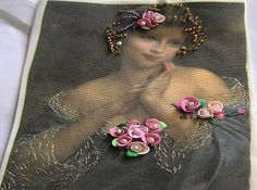 Girl print with handmade sculpey roses and a few beads and gold thread