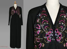 80 Couture dress black with sequins Size L von HalloVintage auf Etsy, €149.00