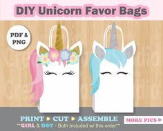 Unicorn FAVOR BAGS/ Unicorn Birthday/ Unicorn Party Supplies/