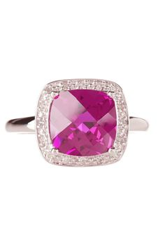 10K White Gold Cushion Cut Pink Sapphire & Diamond Halo Ring