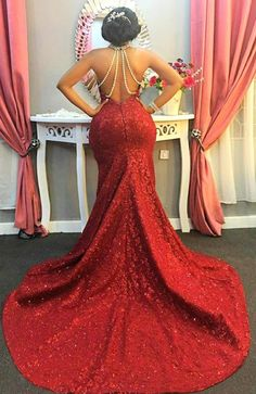 Red Halter Long-Train Sleeveless Pearls-Chain Sparkly Mermaid Amazing Open-Back Prom Dress Item Code: Red Prom Dress Sparkly, Lilac Prom Dresses, African Bridesmaid Dresses, Open Back Prom Dresses, Red Wedding Dresses, Reception Dresses, Gown Wedding, Wedding Reception, Summer Wedding Outfits