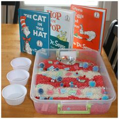 Happy Birthday Dr. Seuss Celebrate with a Dr. Seuss Sensory Bin!  [pinit]  Hands On Sensory PLay with Dr. Seuss & Rhyming Words Happy Birthday Dr. Seuss! Did you know that Dr. Seuss lived right here in Springfield, Massachusetts when he was born! Hooray for us, since that's where we ...