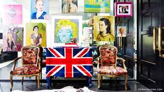 Home Tour: A Fashion Designer\'s Pop Art Palace // Artwork, Andy Warhol, Marilyn Monroe, Union Jack, Stephen Sprouse, Bergere Chair