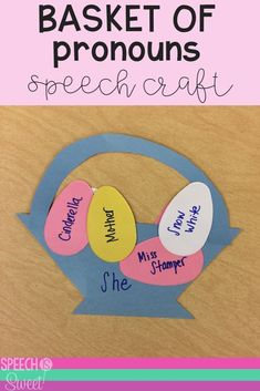 Your speech therapy students will enjoying making this fun basket craft during Easter or spring themed language therapy! This is a fun way to work on pronouns! activities for students Pronoun Basket Craft Speech Therapy Activities, Speech Language Pathology, Language Activities, Speech And Language, Language School, Language Arts, Receptive Language, Parts Of Speech, School Psychology