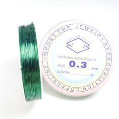 ~ 26 mètres de fil de cuivre vert 0.3mm