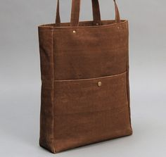 HEAVY DUTY TOTE BAG, SOLID BROWN WITH BROWN LINING :: HICKOREES
