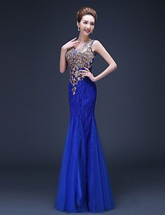 Trumpet/Mermaid Straps Floor-length Lace Evening Dress – USD $ 69.99