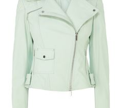 Buy Karen Millen Leather Biker Jacket, Aqua from our Women's Coats & Jackets range at John Lewis & Partners. Karen Millen, Coats For Women, Jackets For Women, Clothes For Women, Pastel Jacket, Green Leather Jackets, Jacket Style, Fashion Outfits, Casual
